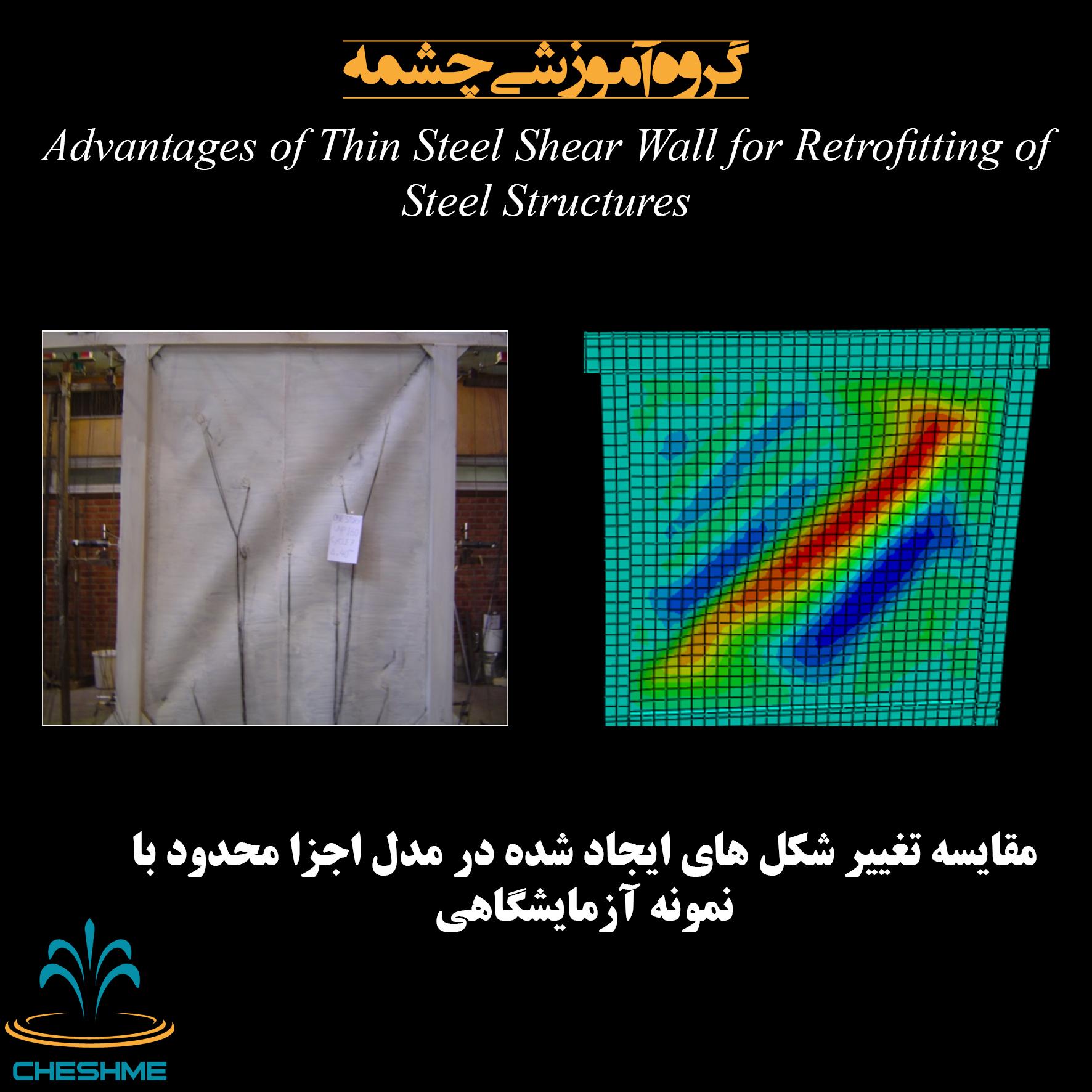 مقایسه تشکیل میدان کشش قطری در دیوار برشی فولادی نیمه مقیدمدل اجزا محدود با نمونه آزمایشگاهی