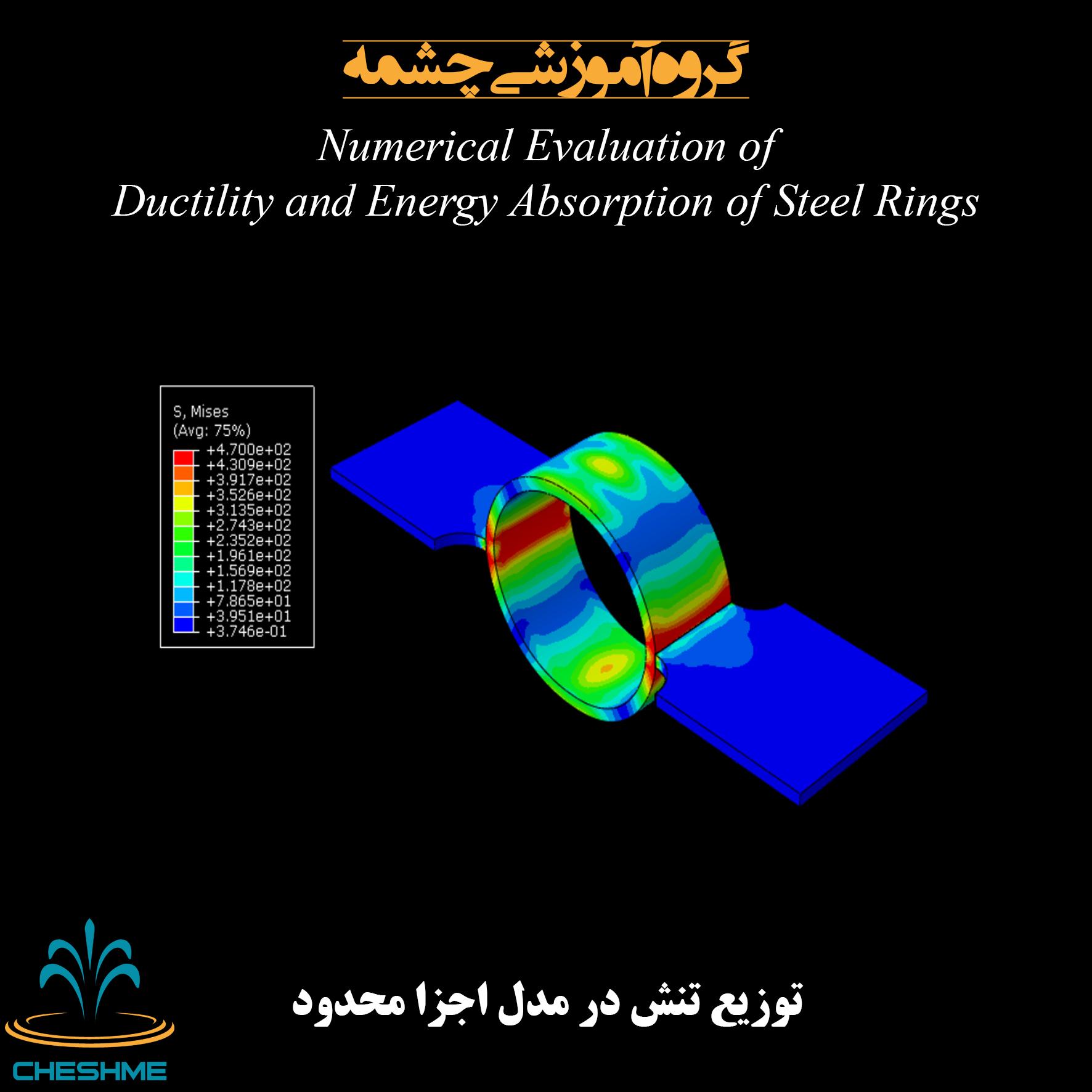 توزیع تنش در حلقه فولادی مدل صحت سنجی شده در آباکوس