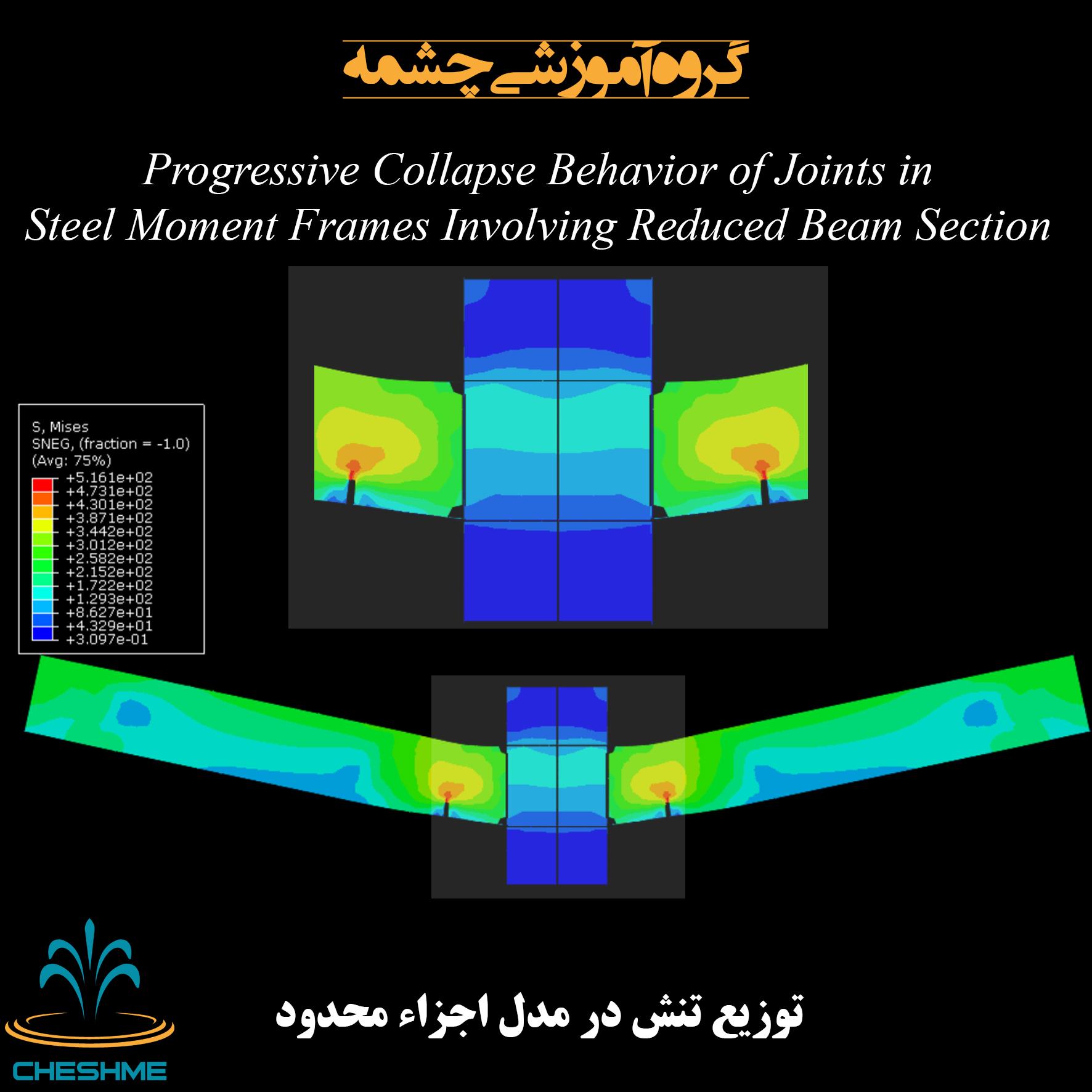 توزیع تنش در مدل اجزاء محدود آباکوس اتصال تیر به ستون فولادی RBS با المان Shell